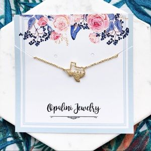 Gold Open Texas Dainty Necklace